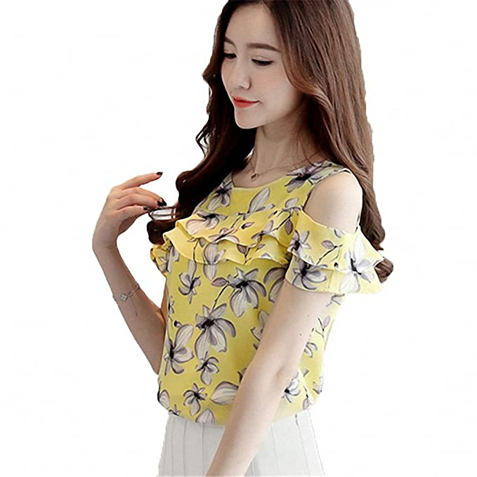 bf015a41a378 Goexi Womens Blouse Shirts O-Neck Short Butterfly Sleeve Casual Ruffles Chiffon  Shirt Floral Print