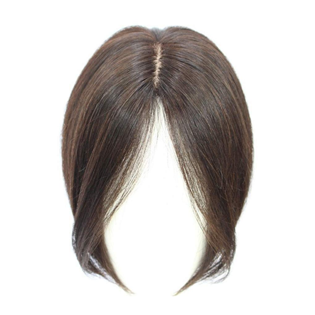 Mono Topper Human Hair, 11'' Middle Part Crown Topper Clip in Top Hairpieces for Women with Thinning Hair (Light Brown)