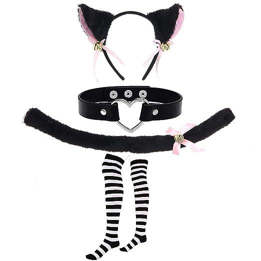 5eb6110d8977e Lolita Cosplay Gothic Cosplay Set - Kitten Tail,Cat Headband w/Ears,Kitten  Choker Necklace,Long Striped Socks