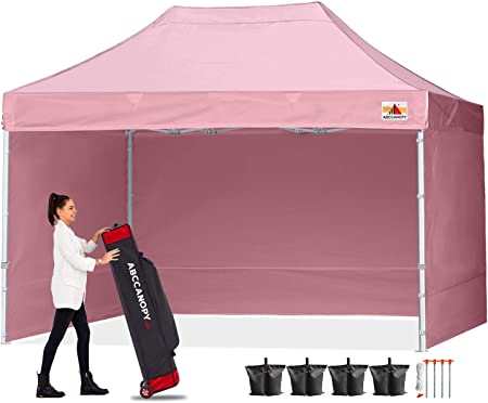 Amazon Com Abccanopy Canopy 10x15 Pop Up Commercial Canopy Tent With Side Walls Instant Shade Bonus Upgrade Roller Bag 4 Weight Bags Stakes And Ropes Pink Garden Outdoor