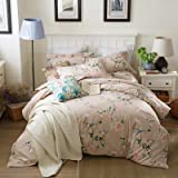 J.H.Longess 全棉加厚磨毛四件套纯棉荷叶边床单保暖床上四件套秋冬加厚单双人床 (L.花枝俏, 1.5米床适用(被套200*230cm))