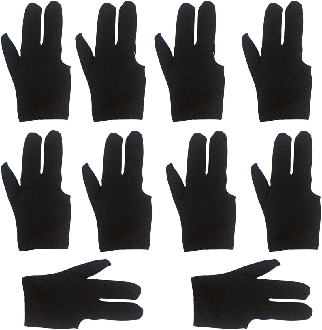 Black lasenersm 10 Pieces Billiard Gloves 3 Finger Billiard Gloves Pool Cue Gloves 3 Fingers Show Gloves Snooker Gloves Wear on The Right or Left Hand for Men Women