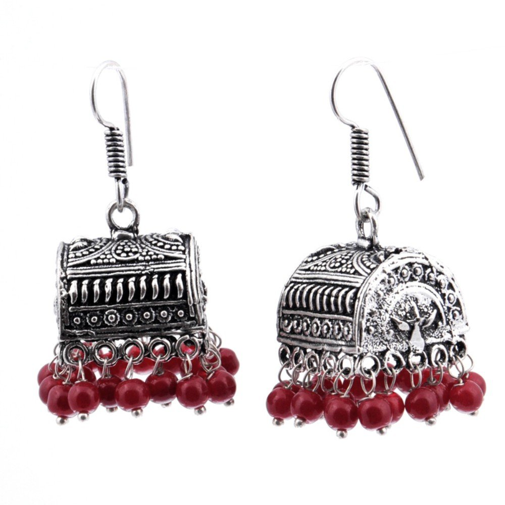 Red Plan Beads Sterling Silver Plated Jhumka//Earring 1.75 Handmade Indian Jewelry Fantasy