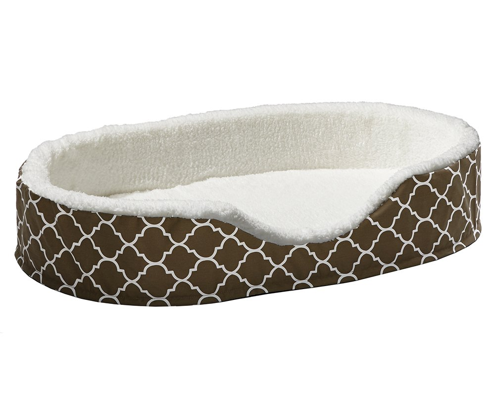 Brown White Geometric Large Brown White Geometric Large Midwest Homes for Pets CU43T-FBR Orthoperdic Egg-Crate Nesting Pet Bed with Teflon Fabric Predector, Brown, Large
