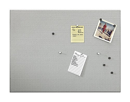 Umbra Bulletboard - Cork Board, Bulletin Board and Magnetic Board for walls - Modern Look with Dual Surface Design - Includes 12 Pushpins and 12 Magnets, 21x15 Inches (Dry Erase Brushed Metal)