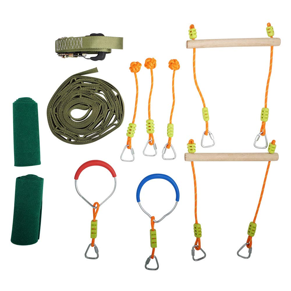 TopEva Ninja Slackline Monkey Bar Kit Outdoor Tree Hanging Obstacles Line Accessories Play Set Kids