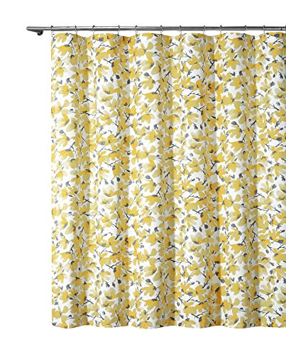 Floral Grey Yellow Fabric Shower Curtain: Contemporary Count