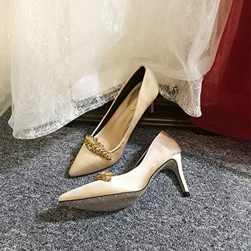 Yukun zapatos de tacón alto Tacón De Aguja De Hadas Femenina Señaló El Banquete De Estilete Zapatos De Boda Rojos Zapatos De Novia Zapatos Solos Negros Femeninos Champagne