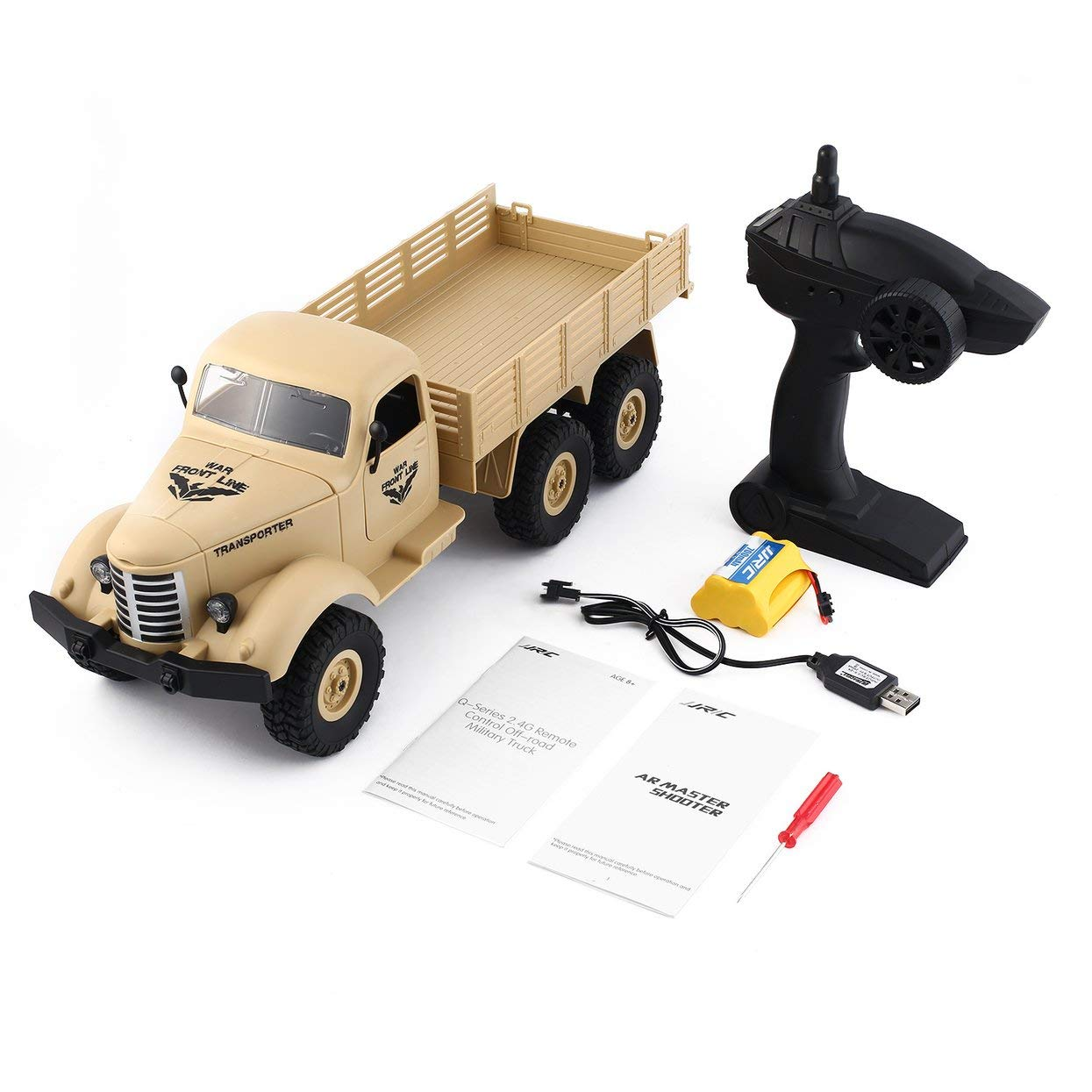LoveOlvidoD JJR / C Q60 1/16 2,4G 6WD RC Off-Road Militär Truck Transporter RC Auto Fernbedienung Fahrzeug für Kinder Geschenk Kinder Spielzeug