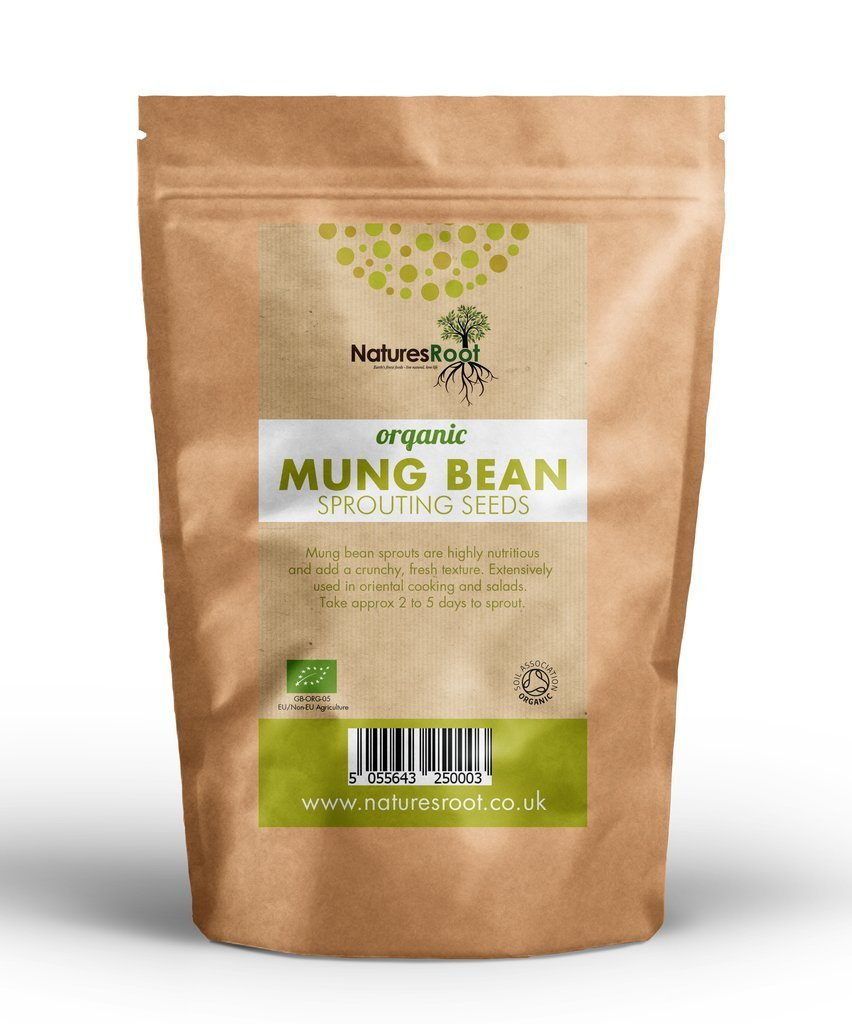 Natures Root Organic Mung Bean Sprouting Seeds 1kg - Superfood | Non GMO | Microgreen Sprouts | Garden Planting | Vegetable Gardening