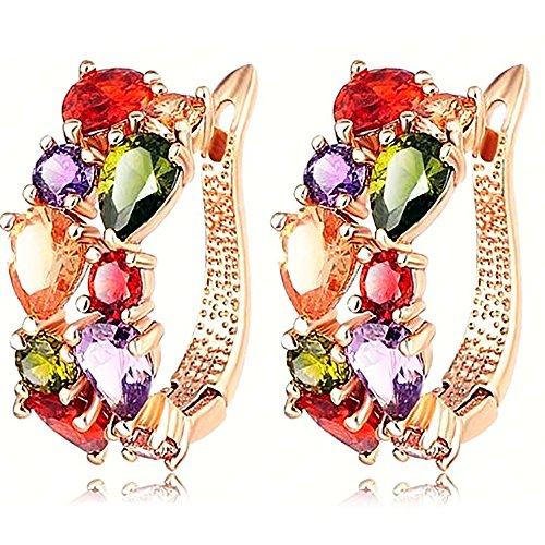 - Swarovski Elements Crystal Rose Gold Plated Fashion Multicolor Flower Cubic Zirconia Jewelry Sets for Women, Gifts for Women (1, Earrings)