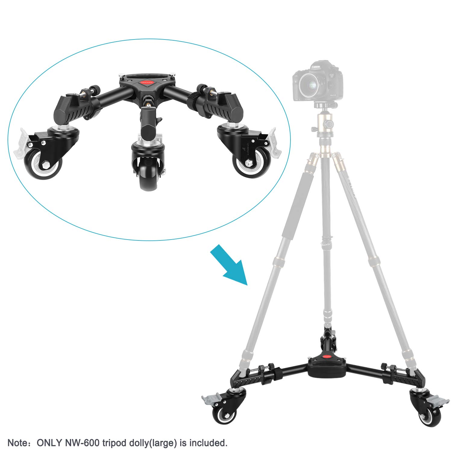 Load up to 50 pounds Neewer Photography Tripod Dolly Adjustable Leg Mounts and Carry Bag for Tripods Heavy Duty with Larger 3-inch Rubber Wheels Light Stands for Photo Video Lighting