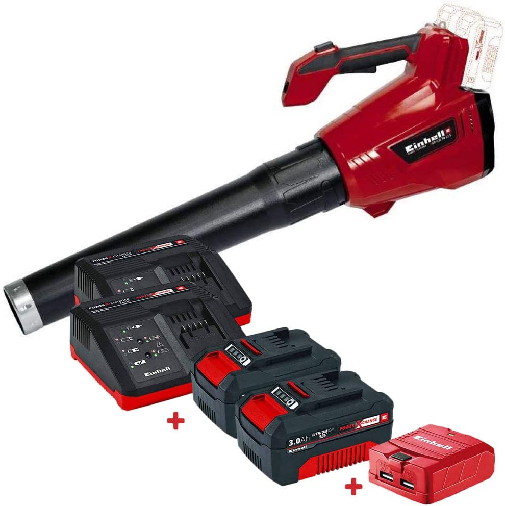Set soplador de Hojas sin Cable Einhell GE-LB 36 Li E con 2 Baterías 3Ah, Cargadores y Adaptador USB Kabra: Amazon.es: Jardín