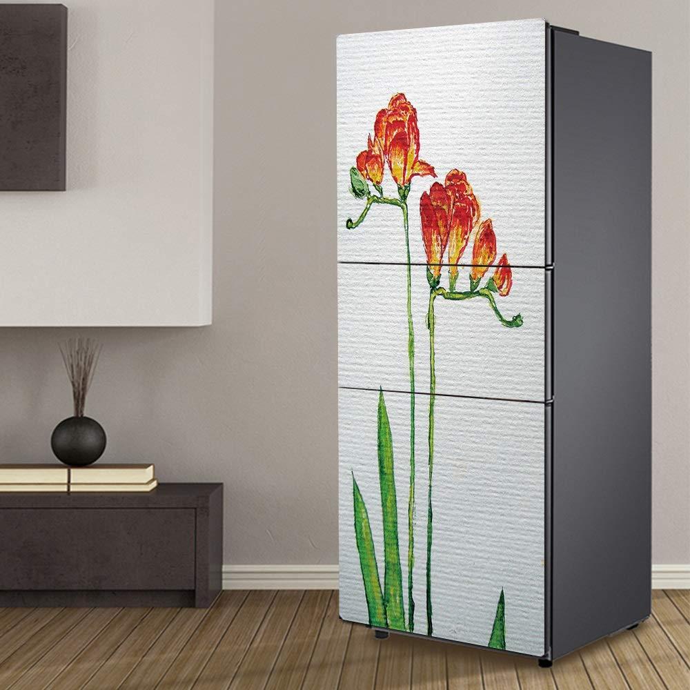 XIAOMAN Adesivi per frigo da Cucina Fiori di Giglio Porta frigo HD Wrap Cover Rimovibile autoadesiva Fai da Te Art Decal Color : Multi-Colored, Size : 60 * 150cm