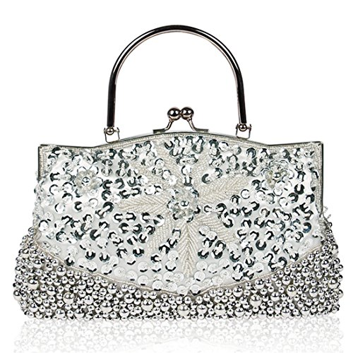 Party Wedding Women Cocktail Clutch Handbag Bag Silver Beaded Purse Sequined for Evening qnwYHxXg