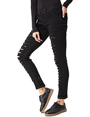 86aef8b5dce62 GLOSTORY Women's Destroyed Skinny Ripped Jeans Petite Girl Slim Fit Denim  Pants 2105(XS,