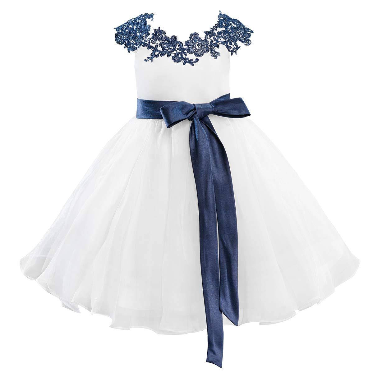 d2bddb5e52 Amazon.com  Dresslane Navy Blue Lace Ivory Organza Flower Girl Dress Kids  Dress  Clothing
