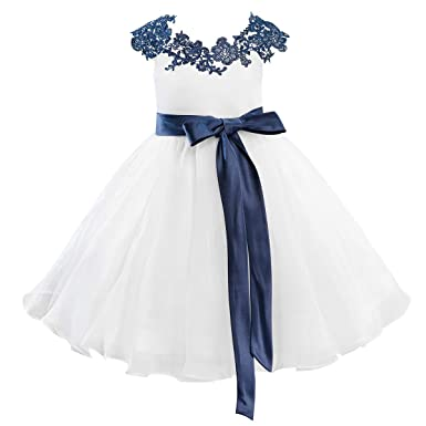 77c31f6f3c Image Unavailable. Image not available for. Color  Dresslane Navy Blue Lace  Ivory Organza Flower Girl Dress ...