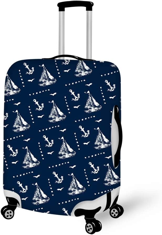 Washable Foldable Luggage Cover Protector Fits 18-21 Inch Suitcase Covers Drawing Sailboat And Anchor