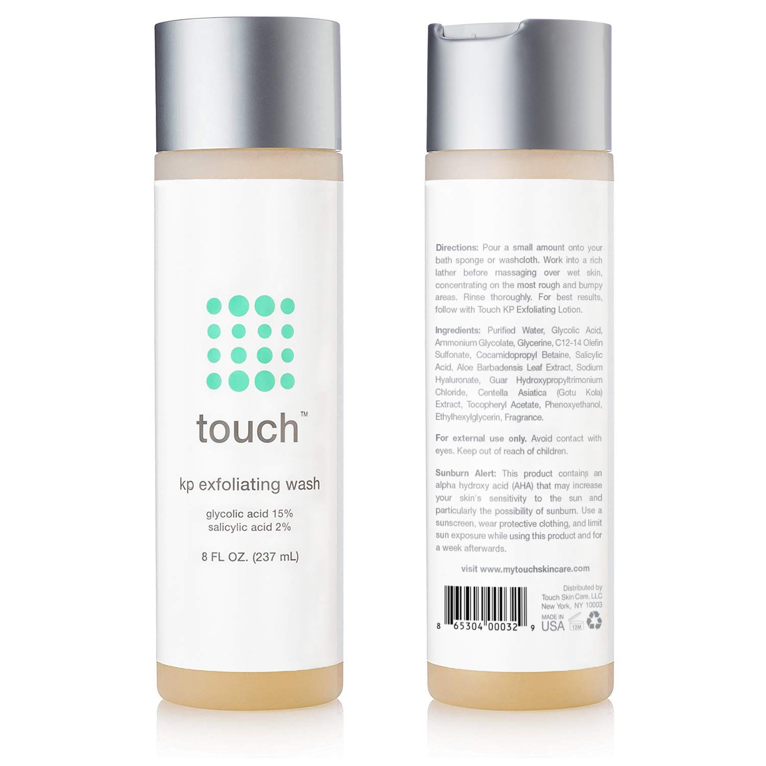 Touch Keratosis Pilaris & Acne Exfoliating Body Wash Cleanser - KP Treatment with 15% Glycolic Acid, 2% Salicylic Acid, Hyaluronic Acid - Smooths Rough & Bumpy Skin - Gets Rid Of Redness, 8 Ounce by TOUCH (Image #8)
