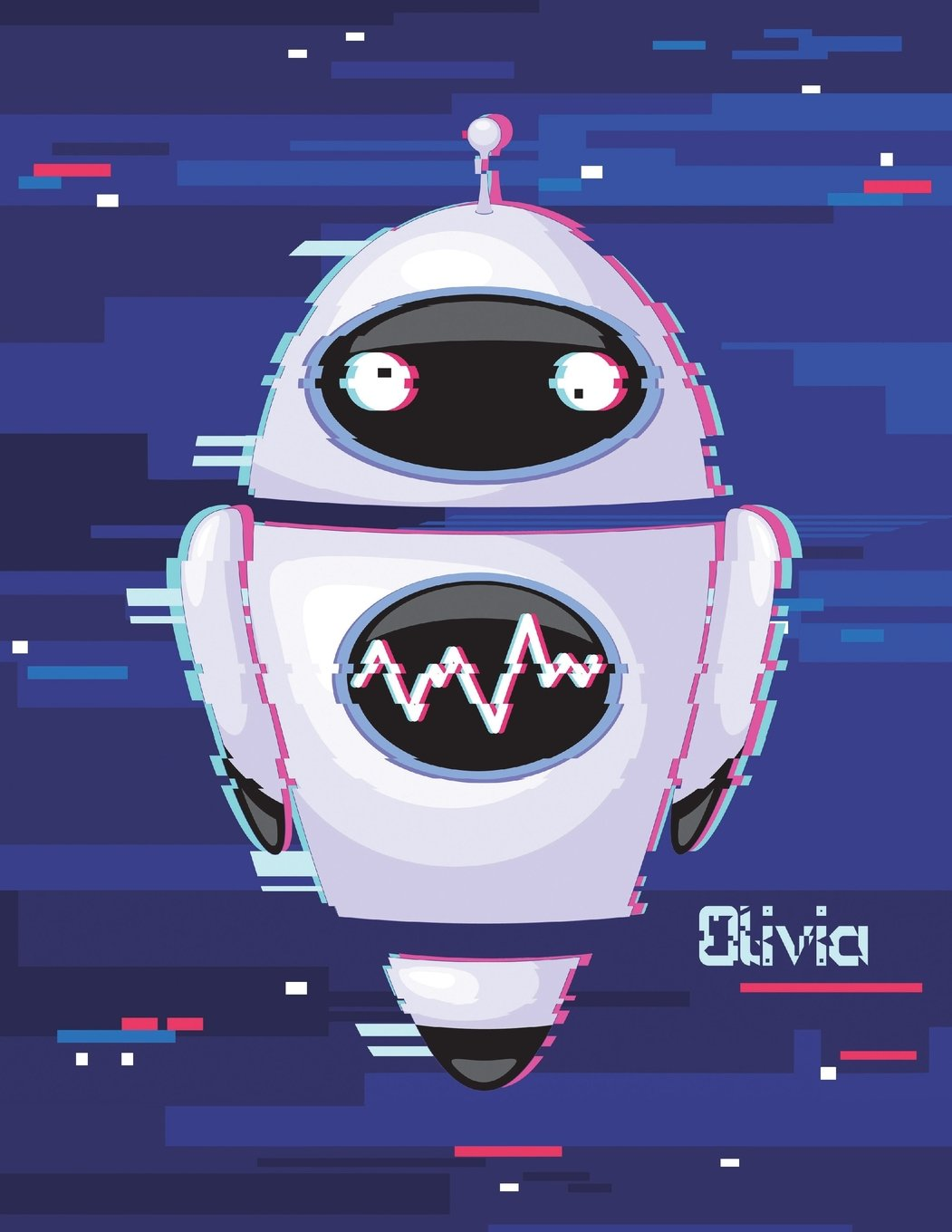 """Read Online Olivia: Personalized Discreet Internet Website Password Journal or Organizer, Cute Robot Themed Birthday, Christmas, Best Friend Gifts for Kids, ... Grandma, Large Print Book, Size 8 1/2"""" x 11"""" pdf epub"""