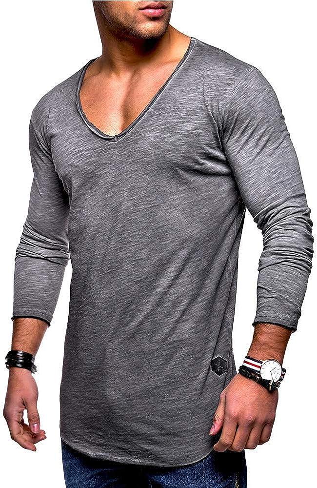 T-Shirt Uomo Maglie Maniche Lunga Collo V Camicie Tinta Unita Estiva Moda Casuale Maglietta da Uomini Tumblr Tees Sportivi Tops