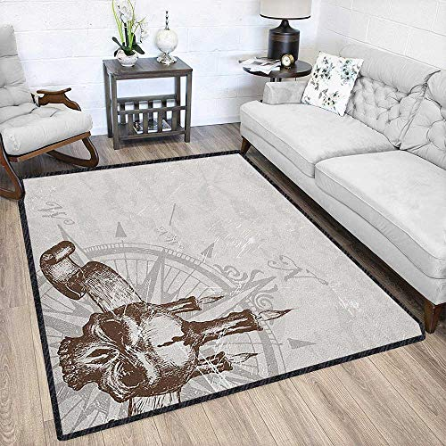Pearl Carved Rug - Compass Traditional Bright Area Rug,Compass with Skull and Candles Spooky Adventure New Pirate Destinations Theme Environmental Protection Fabric Brown Pearl Grey 67