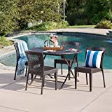 Radley Outdoor 5 Piece Multi-Brown Wicker Dining Set with Foldable Table and Stacking Chairs