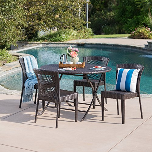 Radley Outdoor 5 Piece Multi-Brown Wicker Dining Set with Foldable Table and Stacking Chairs by GDF Studio