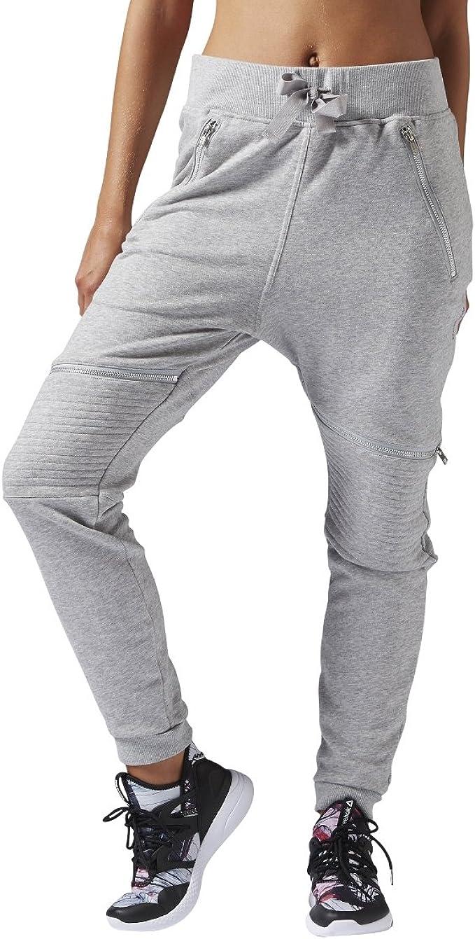 Reebok Damen Dance Knit Moto Hose, Damen, Medium Grey
