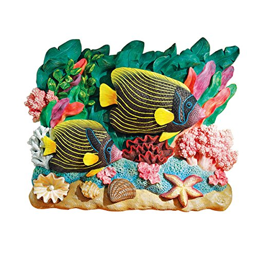 Design Toscano The Great Barrier Reef Fish Wall Sculpture Emperor Angelfish, (Angel Fish Sculpture)