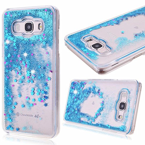 Price comparison product image Galaxy Sky Case,  J3 / J3 V Case, Galaxy Sol Case, DAMONDY Cute 3D Moving Stars Bling Liquid Glitter Floating Flowing Ultra Clear Hard Cover Case for Galaxy J3 / Express Prime / Amp Prime -blue