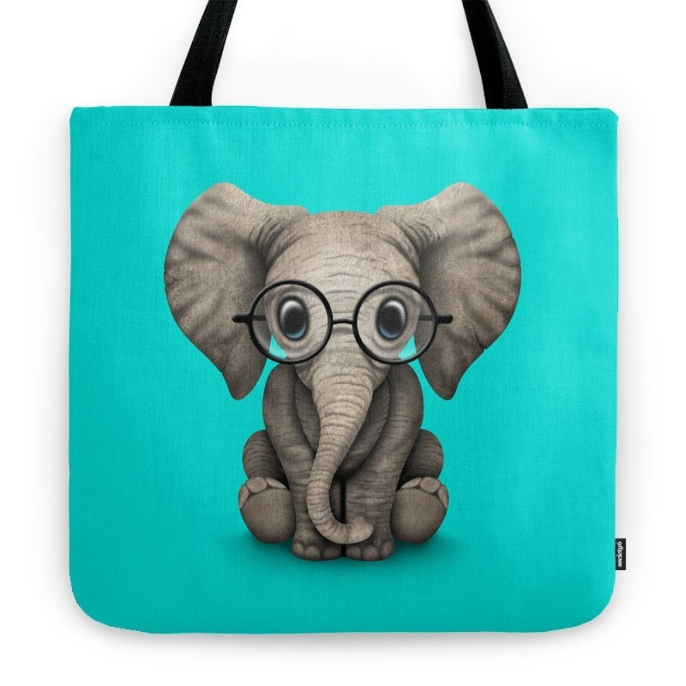 Society6 Cute Baby Elephant Calf With Reading Glasses On Blue Tote Bag 18'' x 18''
