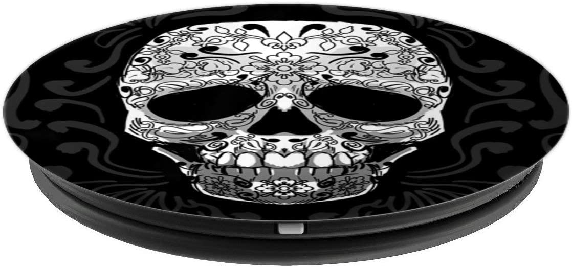 Tattooed Skull Fleur De Liz Skeleton Head Goth Lover Gift PopSockets Support et Grip pour Smartphones et Tablettes