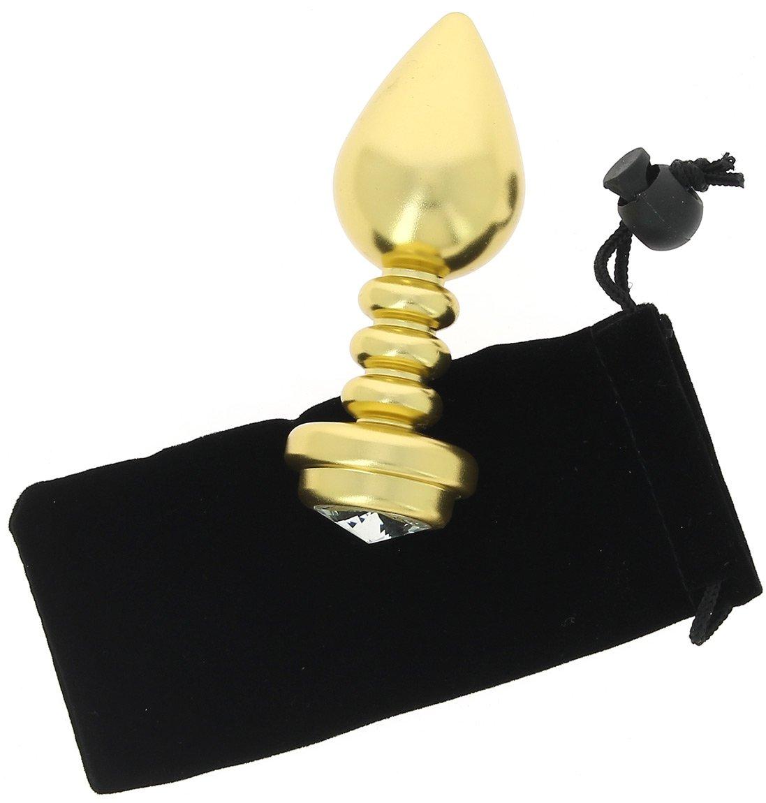 Plug anal doré 98 strié en aluminium Ø 3,3 cm - 98 doré grammes 49f379