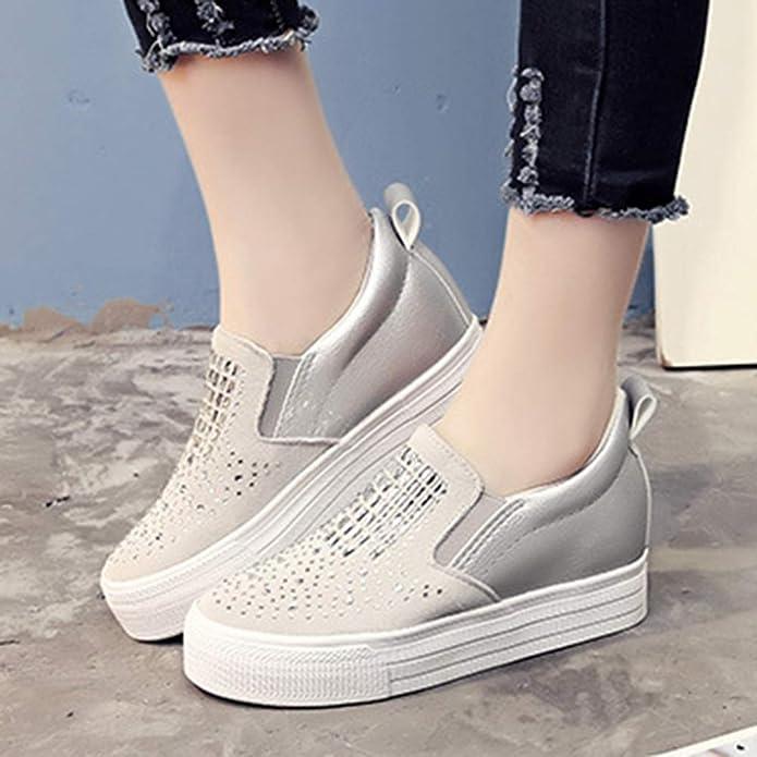 Zapatos con Suela Gruesa para Damas Plataforma Rhinestone Bling Casual Negro Blanco Zapatos con Punta Redonda para Mujer Mocasines Planos: Amazon.es: ...