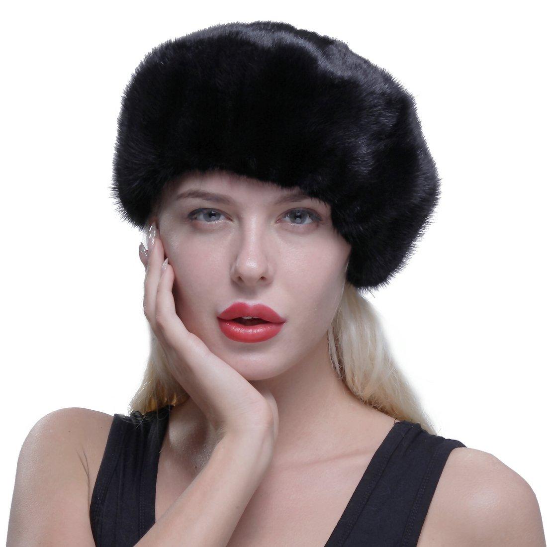 URSFUR Genuine Mink Beret Ladies Winter Fur Hat Cap Black by URSFUR