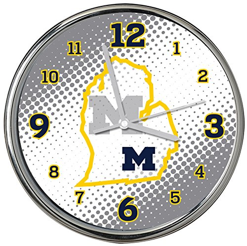 Memory Company NCAA The University of Michigan Col-MH-2238Chrome Clock - State of Mind Style, Multi, One Size (Michigan Wolverines Clock)