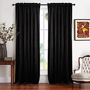 RYB HOME Blackout Velvet Curtain - Rustic Classic Velour Drapes Dual Rod Pockets Panels Lint Window Shades for Bedroom Living Room Patio Door Theatre Screen, Wide 52 x Long 96 inches, Black, 2 Pcs