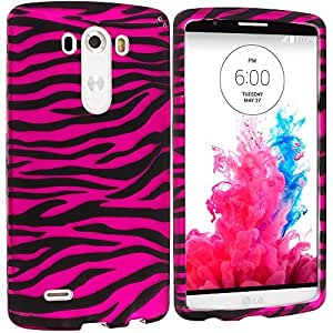 Accessory Planet(TM) Black / Hot Pink Zebra Hard Snap-On Design Rubberized Case Cover Accessory for LG G3