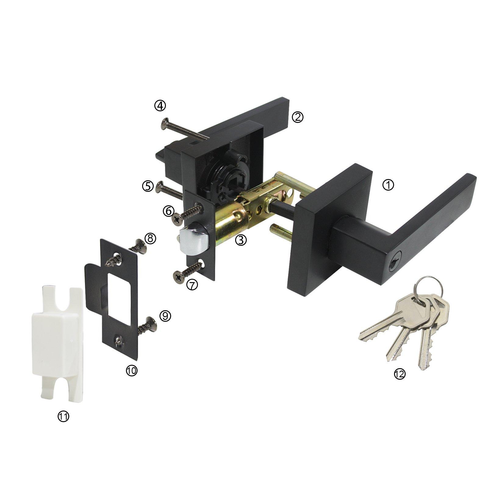 10 Pack Probrico Interior Bedroom Entrance Door Lever Doorknobs Door Lock One Keyway Entry Keyed Alike Same Key Entrance Lockset in Black Each with 3 Keys by Probrico (Image #5)