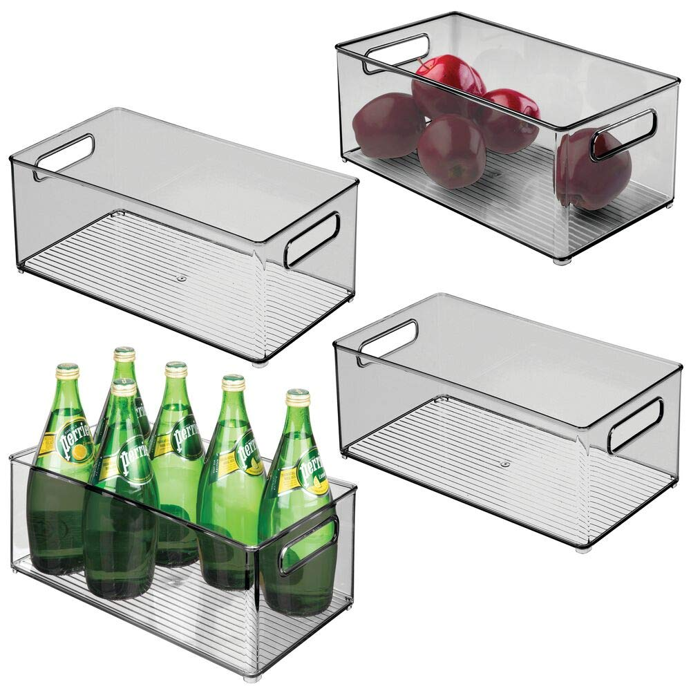 "mDesign Deep Plastic Kitchen Storage Organizer Container Bin with Handles for Pantry, Cabinets, Shelves, Refrigerator, Freezer - BPA Free - 14.5"" Long, 4 Pack - Smoke Gray"