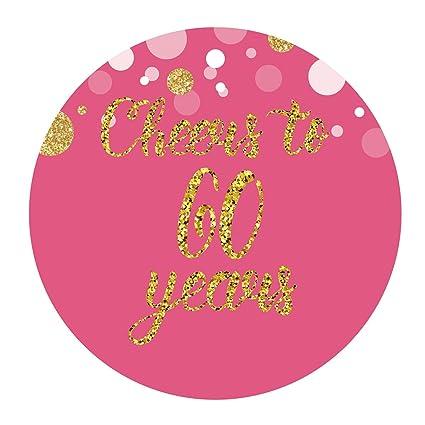 Amazon MAGJUCHE Pink 60th Birthday Or Anniversary Stickers