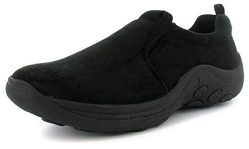 Rockstorm Hombre/Negro Hombre Doble Costura Sin Cordones Informal Zapatos Corte Ancho Negro - GB Tallas 6-15 - Negro, 42 EU