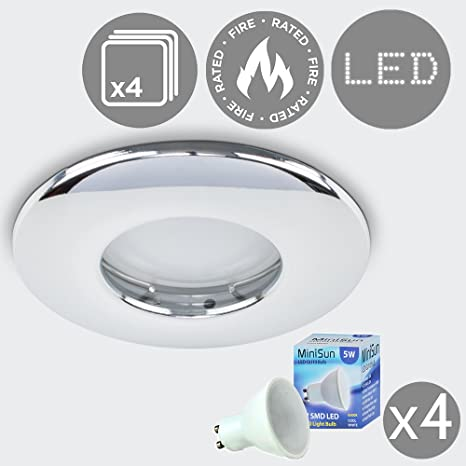 hot sales 864fc ee19a Pack Of 4 - MiniSun Fire Rated Bathroom/Shower IP65 Polished Chrome Domed  Ceiling Downlights - Complete With 4 x 5W Cool White GU10 LED Bulbs