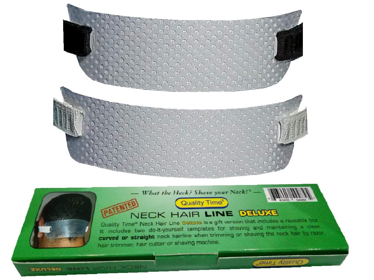 Quality Time Neck Hair Line DELUXE - 2 Templates for Shaving and Keeping a Clean and Curved or Straight Neck Hairline: A Stencil for Neckline Haircut, Do-it-yourself by Quality Time