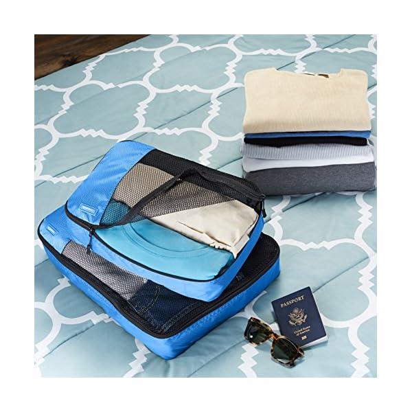61OsUMcJOuL Amazon Basics Kleine Kleidertaschen, 4 Stück, Blau