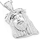 Luxurman Hip Hop Jewelry 10K Gold Natural 1.2 Ctw Diamond Jesus Face Pendant (White Gold)