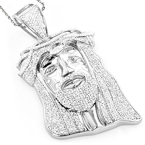 Luxurman Hip Hop Jewelry 10K Gold Natural 1.2 Ctw Diamond Jesus Face Pendant (White Gold) by Luxurman