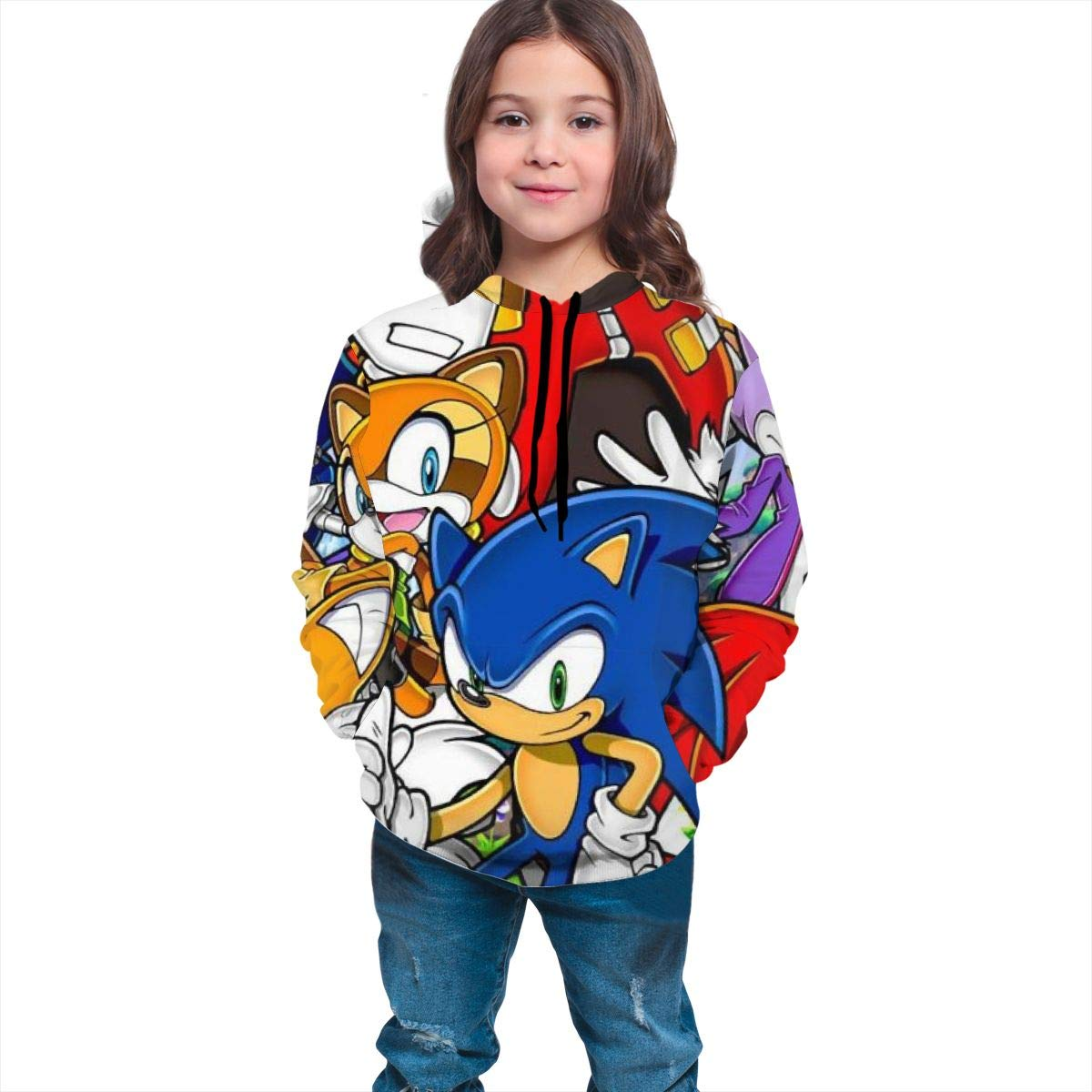 Childrens Hoodies Sonic-The Hedg-Ehog 3D Print Unisex Pullover Hooded Sweatshirts for Boys//Girls//Teen//Kids